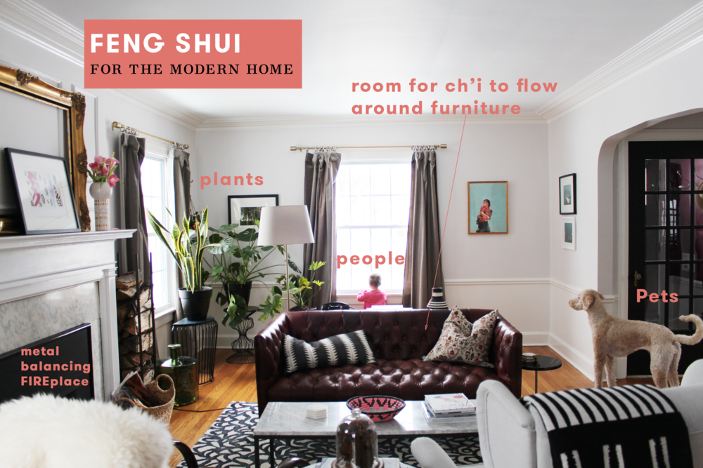 "This room isn't perfect (design or feng shui-wise), but I wanted to draw attention to some VERY easy ways to instantly improve the feng shui of any room in your house! Just add people, plants, and pets!!!  As a practitioner, I'm always assessing the flow of Ch'i (positive energy) and a great way to enhance it's flow around your space is by the placement of the furniture. Another thing we take serious consideration of is the balance of the  five elements .  Of the myriad ways to elementally balance your home, we consider the nourishing and controlling cycles of those elements. For example, I point out the use of ""metal"" (one of the 5 elements) around the mouth of the ""fire""place.  Metal controls fire and provides more harmony."
