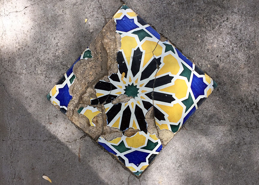 Bench tile and flower petals share the same shade of yellow.