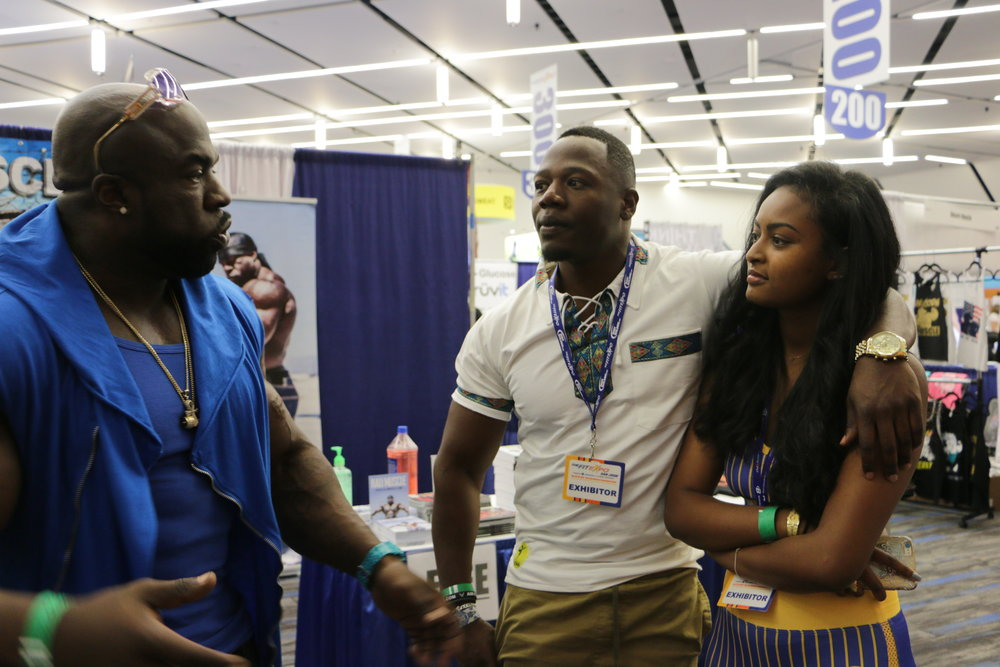 San Jose, California - Kali Muscle, Yema Khalif and Hawi Awash connecting at the fit expo event.