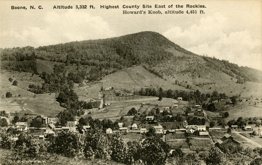 Boone, NC, as it appeared ca. 1910, image by J. J. Coffey, from the Bobby Brendell Postcard Collection, Digital Watauga Project