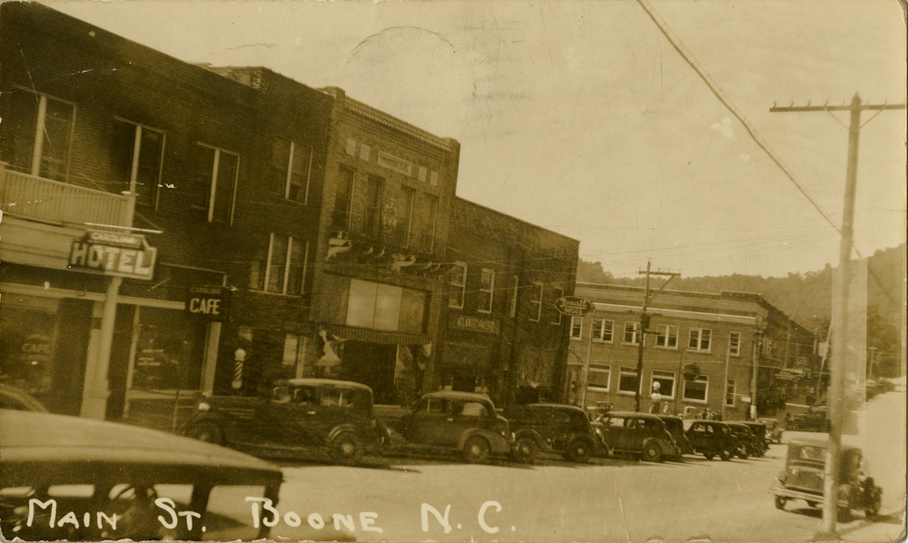 Downtown Boone, 1938, from the Bobby Brendell Postcard Collection, Digital Watauga Project