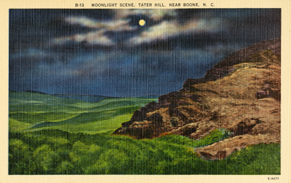 Moonlight Scene, Tater Hill, Near Boone, NC, 1-2, Bobby Brendell Postcard Collection, Digital Watauga Project