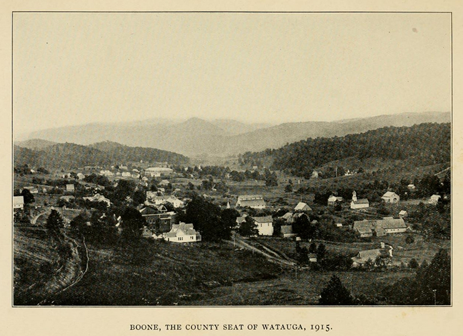 Boone from the Northwest, ca. 1915, from John Preston Arthur's History of Watauga County (1915)