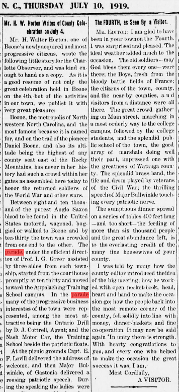 Description of the July 4, 1919, parade from the July 10, 1919,  Watauga Democrat