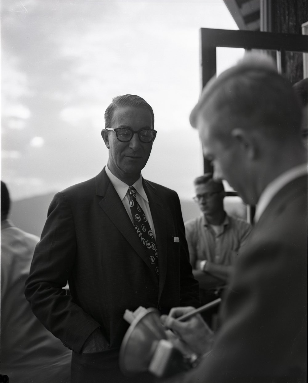 Reporters interview Sen. Estes Kefauver (D-TN) at Mayview Manor in Blowing Rock, NC, in August 1956. This image was shot by Palmer Blair and is part of the forthcoming Palmer Blair Collection, Digital Watauga Project.