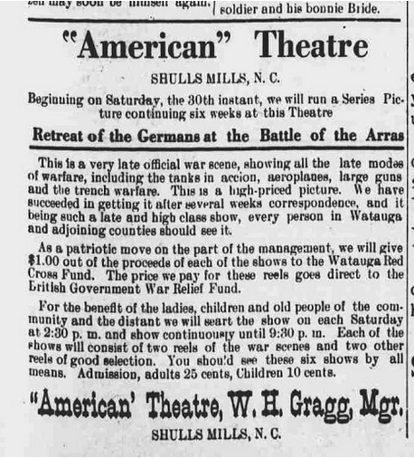 First advertisement for the American Theatre at Shulls Mills, March 21, 1918,  Watauga Democrat .