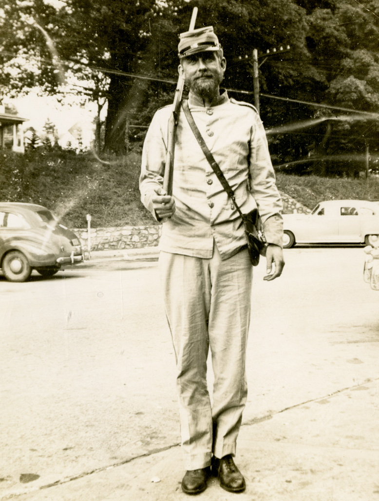 Woody Richardson donned this recreation of a Civil War military uniform as part of the 1949 Watauga County Centennial festivities. Image courtesy of the Digital Watauga Project, Von and Mickey Hagaman Collection (Von-Hag-1-013).