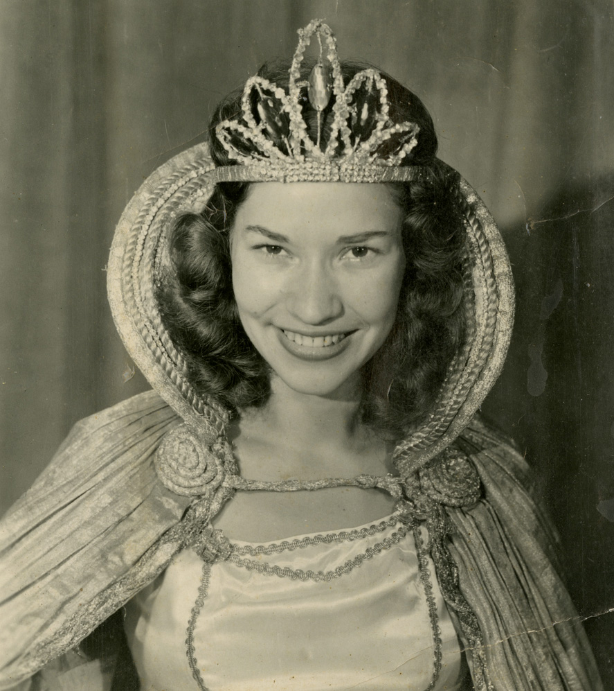 Mickey McGuire posed in her Queen of the Centennial costume for Palmer Blair, a local photographer who shot many of the commemorative photos of the 1949 Watauga County Centennial. Image courtesy of the Digital Watauga Project, Von and Mickey Hagaman Collection (Von-Hag-1-001).