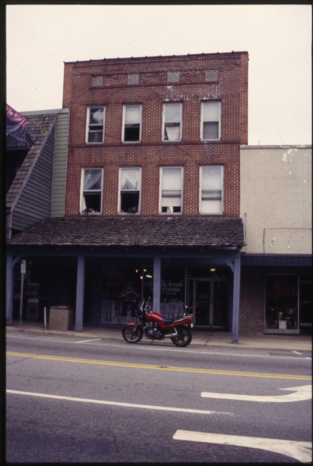 Originally known as the Hamby and Winkler Building (1937), this building on West King Street housed the Our Daily Bread Delicatessen in the 1990s, its present tenant today. Image courtesy of the Downtown Boone Development Association Collection (Dow-Boo-1-010), Digital Watauga Project.
