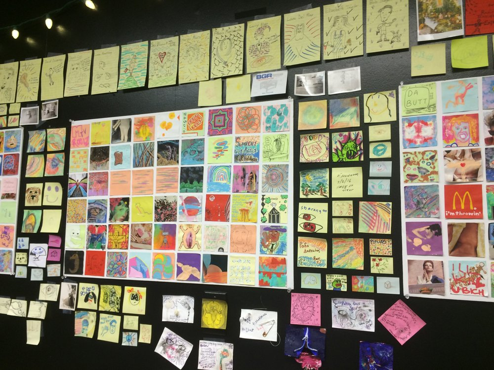 The walls were covered in post it note art- and anyone is welcome to contribute.