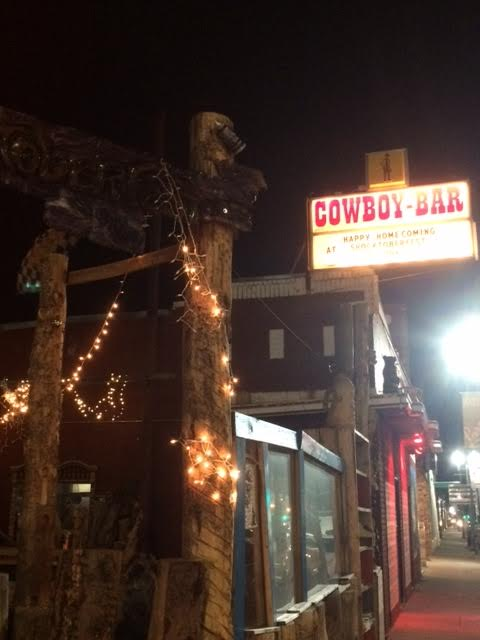 "We played at Shoktoberfest- but the city declared the bar to be a historic site, so they had to leave the original ""Cowboy Bar"" sign out front."