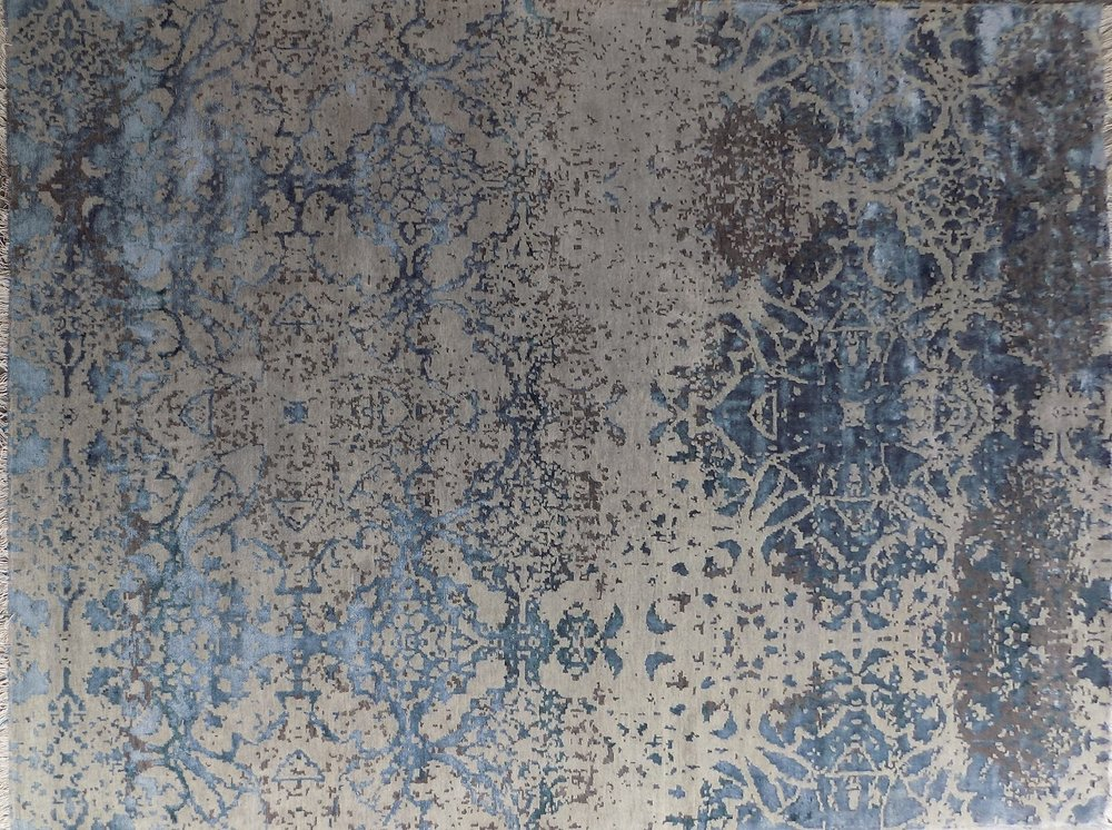 Blue Beige Distressed Damask 8x11. Blue Beige Distressed Damask 8x11 Area  Rug