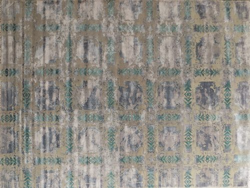 Green Tan Distressed Tiles 8x10 Fine Area Rugs Carpets
