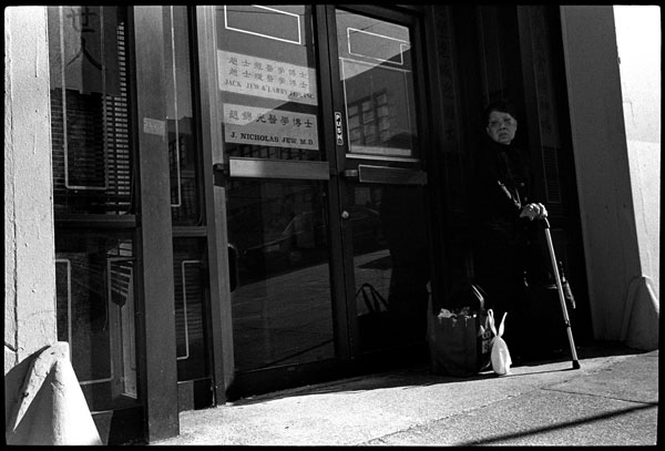 Black and white photograph, elderly woman, chinatown, san francisco