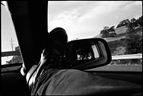 Black and White Photographs: Self Portrait in the Rearview Mirror.