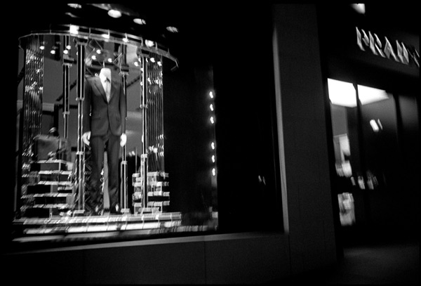 Black and white photograph, prada storefront, san francisco