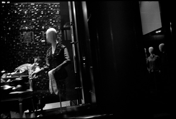 black and white photograph: prada storefront, san francisco