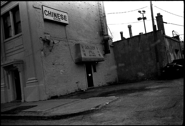 black and white photograph: chinese food, hamtramck (detroit)