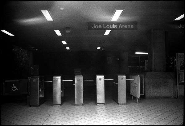 black and white photograph: joe louis arena, detroit, michigan