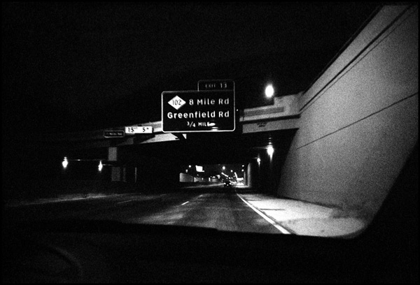 black and white photograph: 8 mile and greenfield, detroit