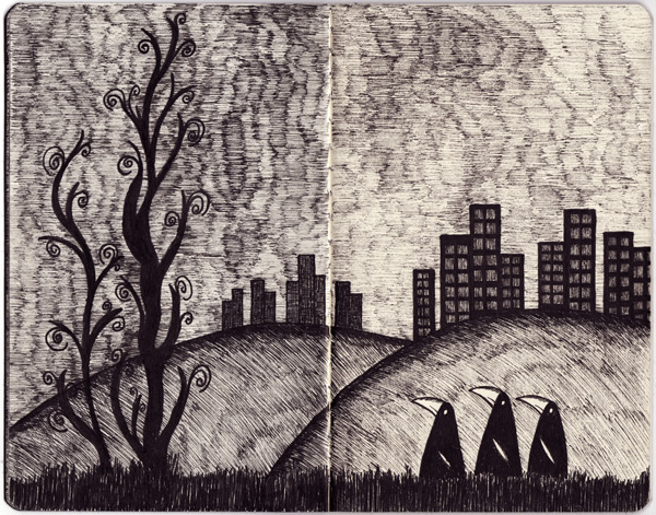 Moleksine Sketches, Pen and Ink, Landscape
