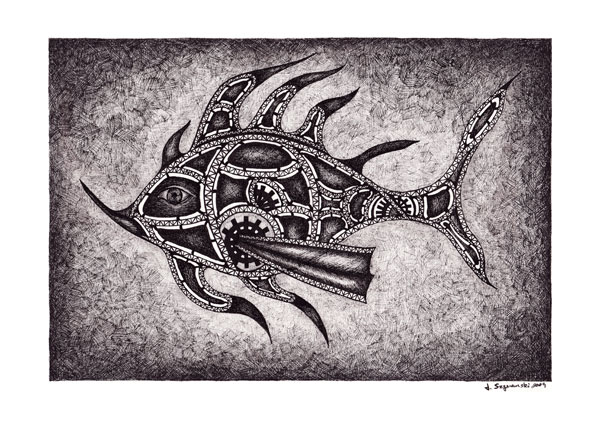 Pen and Ink Drawings: Sea Creature #1