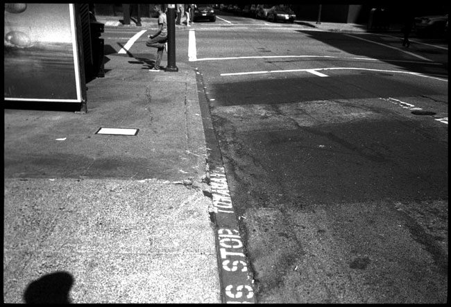 Black and White Photograph: Bus Stop, Sacramento Street, San Francisco