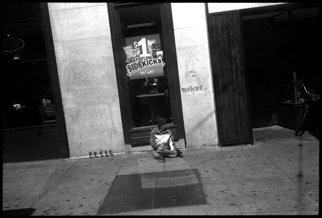 Black and White Photograph: Homeless Woman, 3rd St., San Francisco