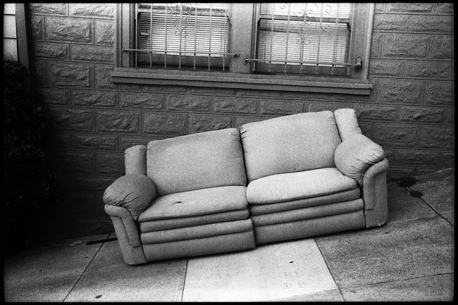 Black And White Photograph: Couch on Mason St., San Francisco