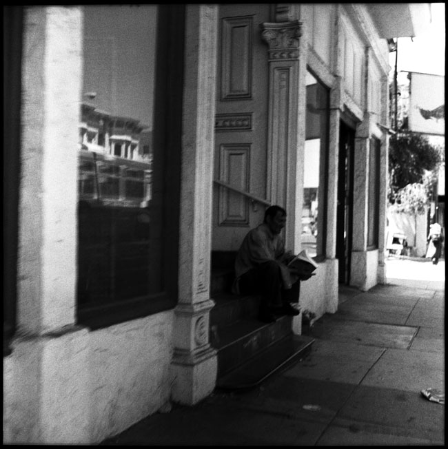 Black and White Photograph: Reading Man, Valencia Street