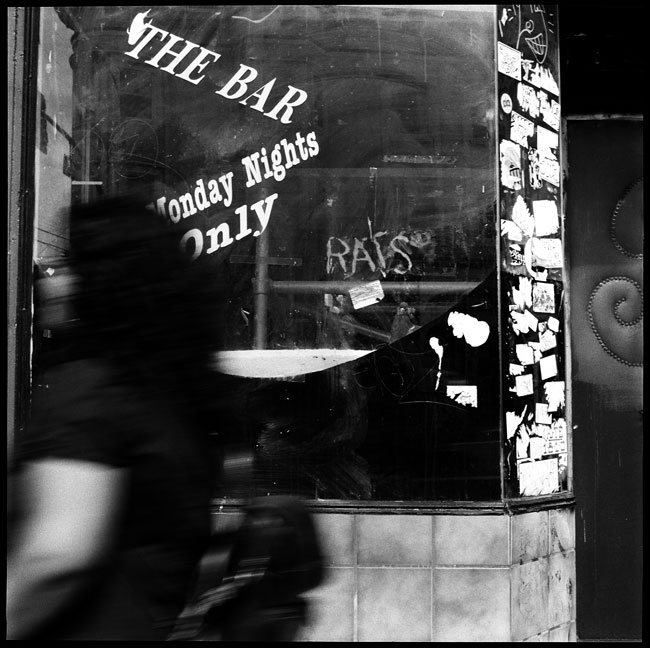 Black and White Photograph: Bar Window, Valencia Street