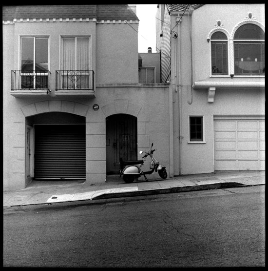 Black and White Photograph: Vespa, 24th St., San Francisco