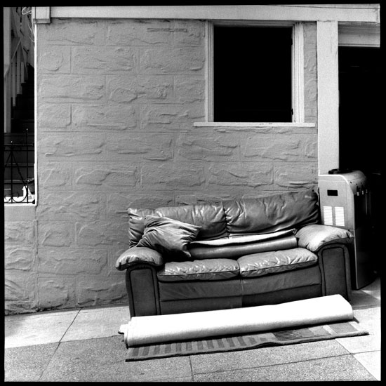 Black and White Photograph: Couch on Church Street