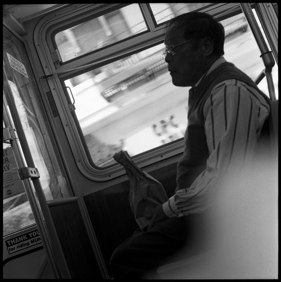 Black and White Photograph: #1 California Street Bus, San Francisco