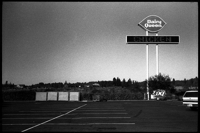 Black and White Photograph: Dairy Queen, On The Road...