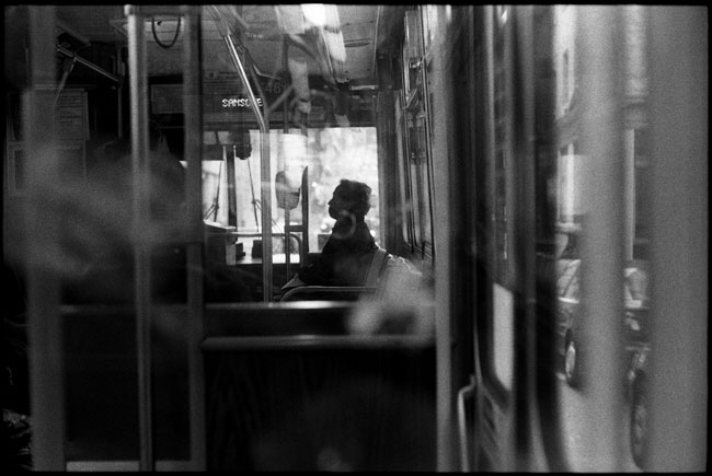 Black and White Photograph: Muni Bus Rider, San Francisco