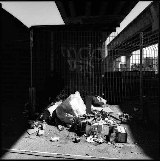 Black and White Photograph: Trash, Townsend Street, San Francisco, California.