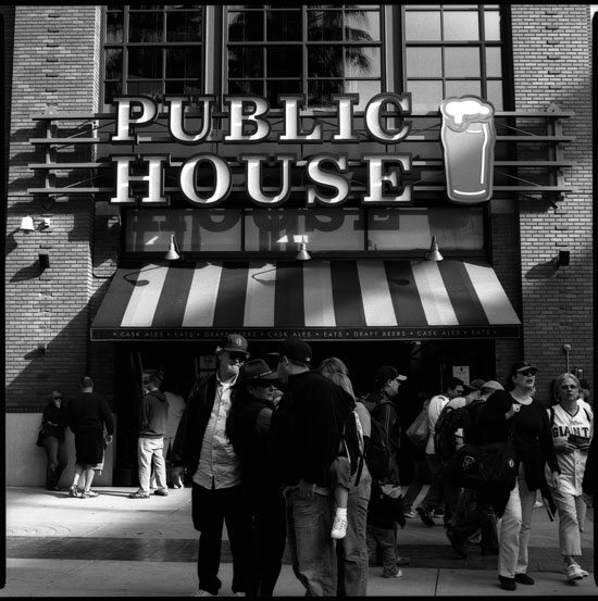 Black and White Photograph: Public House Restaurant, SF Giants Stadium, San Francisco, California.