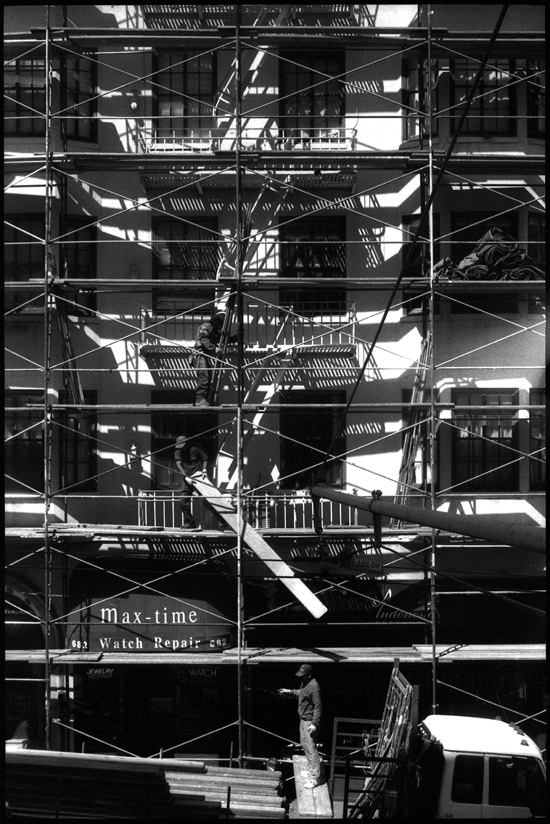 Black and White Photograph: Scaffolding, Post St., San Francisco