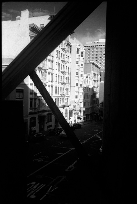 Black and White Photograph: Post St., San Francisco, Through the Window #1