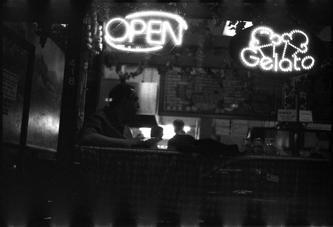 Black and White Photograph: Man in Pizzeria Window, San Francisco