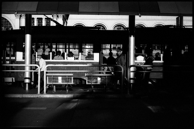 Black and White Photograph: Street Car, San Francisco Ferry Building.