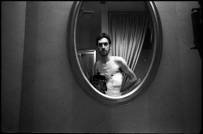 Black and White Photograph: Self Portrait with Chest Wound, 2011