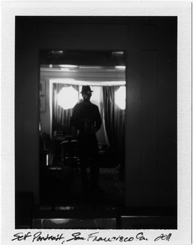 black and white polaroid, self portrait, san francisco, 2011