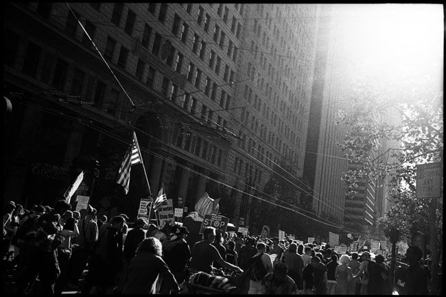 black and white photographs: occupy sf protestors, san francisco, ca. 2011