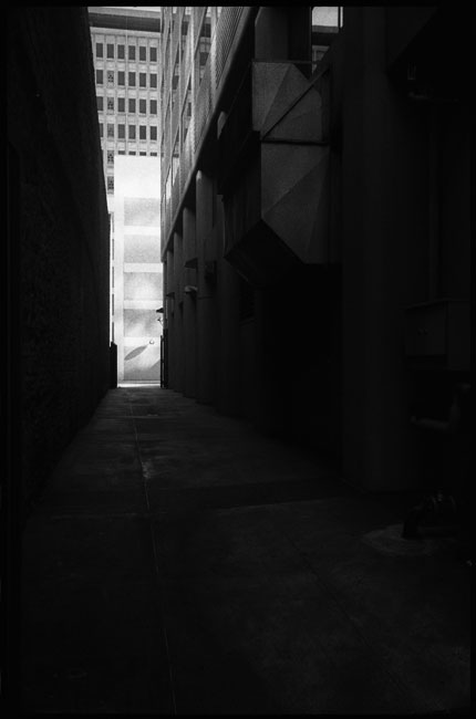 black and white photograph: alley, near howard street, san francisco, ca. 2011