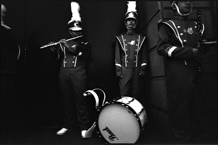 0228_06A black and white photograph: marching band, post street, san francisco