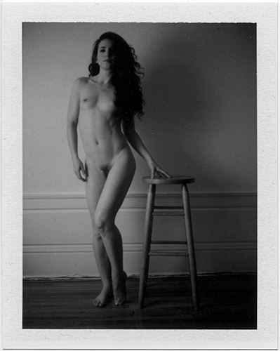 black and white polaroid, untitled nude