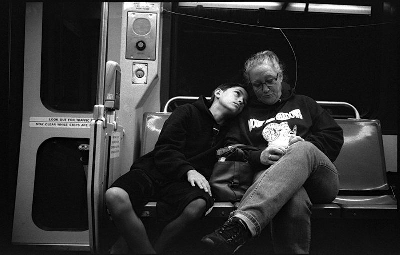 black and white photo SF MUNI train