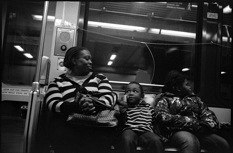 black and white photo, SF MUNI train